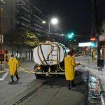 La Dirección de Servicios Urbanos de la Municipalidad reforzó la desinfección en los lugares de mayor concurrencia